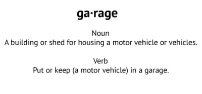 defition of a garage, a building used for housing a motor vehicle