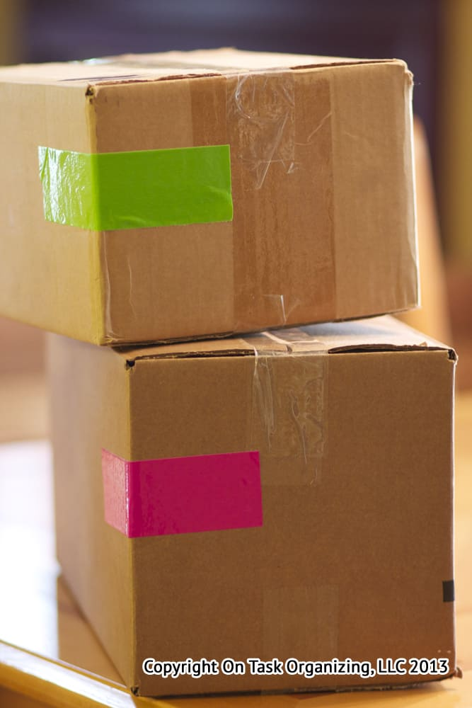 color code moving boxes with duct tape on task organizing. Black Bedroom Furniture Sets. Home Design Ideas
