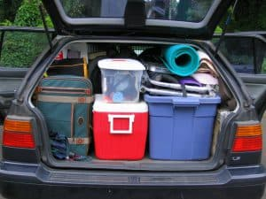 A car with a trunk packed for a road trip