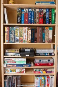 Board games arranged on Skandia Shelving