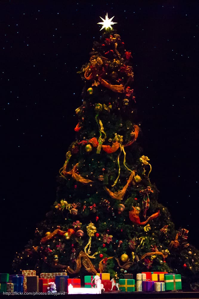 Christmas tree with gifts underneath it
