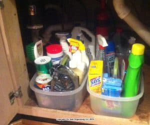 Cleaning supplies organized in caddies under the kitchen sink after an organizing session with On Task Organizing, LLC in Raleigh, NC