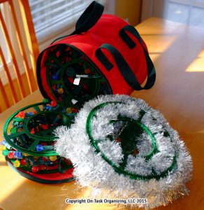 Organizing Holiday Decorations with light spools