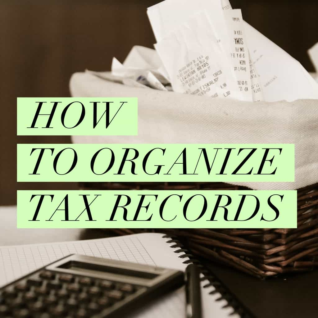 title page how to organize tax records