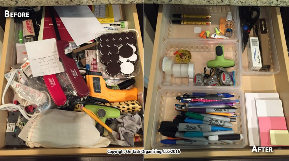 Junk Drawer Before and After Organizing