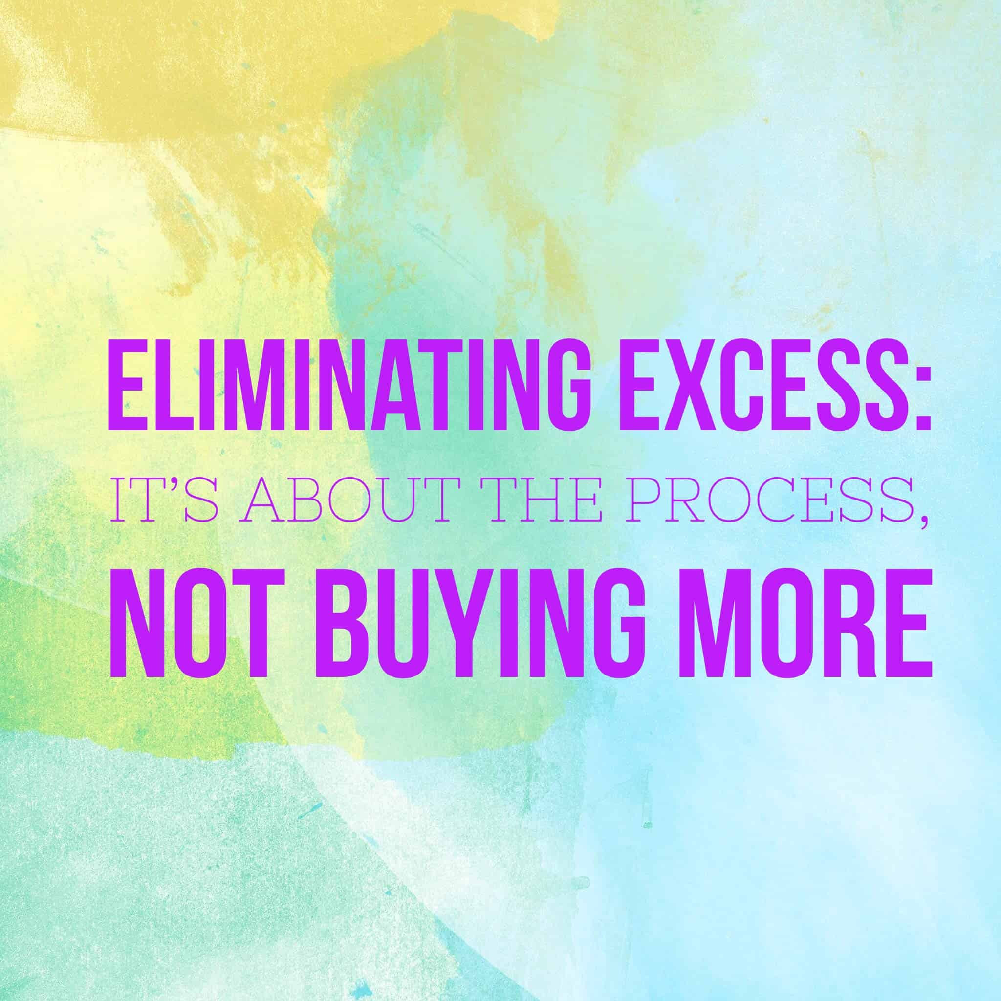 Eliminating Excess: It's About the Process, Not Buying More